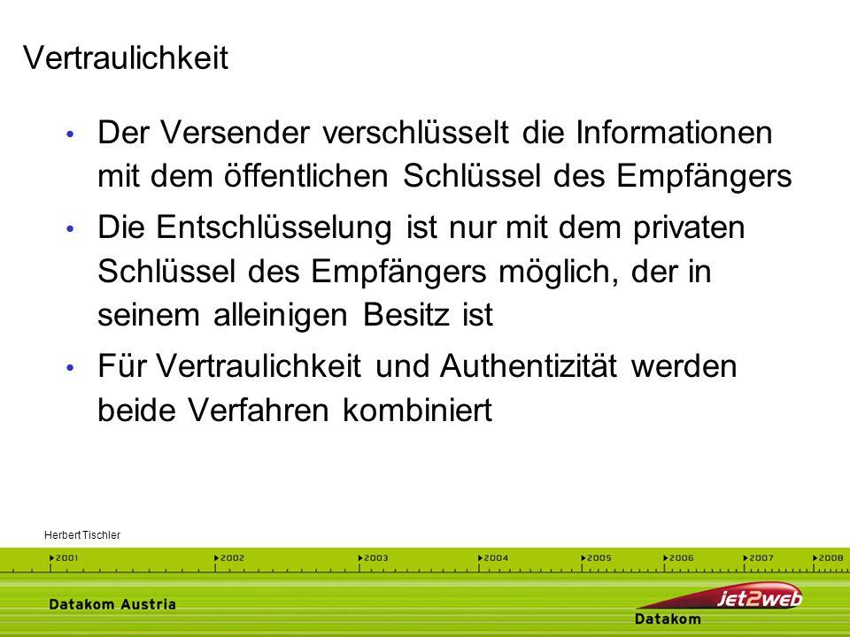 Herbert Tischler WU-Wien, 30.4.200210 Verschlüsselter Extrakt aus Nachricht Digitales Signieren mit Privatem Schlüssel - Überprüfung mit Öffentlichem Schlüssel Digitale Signatur macht Nachricht fälschungssicher Digitales Zertifikat belegt, von wem die Signatur stammt Digitale Signatur