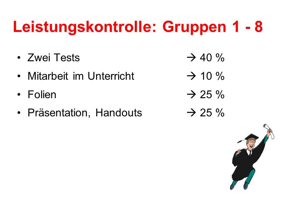 Leistungskontrolle: Gruppen 1 - 8 Zwei Tests 40 % Mitarbeit im Unterricht 10 % Folien 25 % Präsentation, Handouts 25 %
