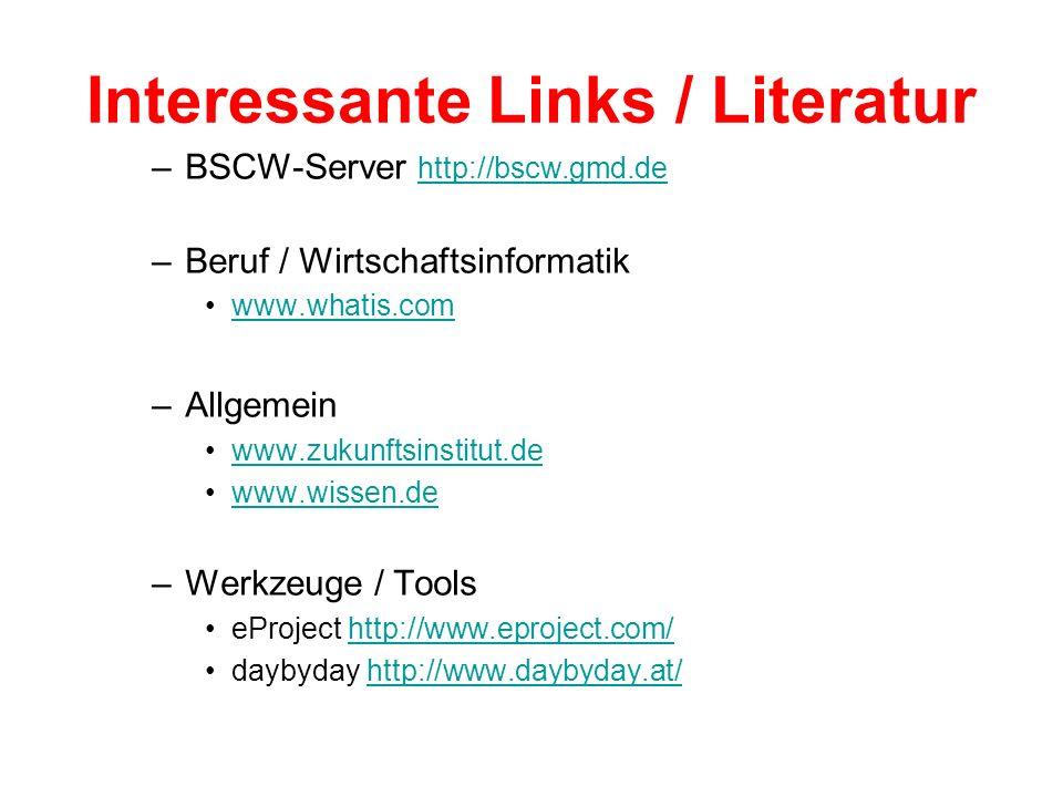 Interessante Links / Literatur –BSCW-Server http://bscw.gmd.de http://bscw.gmd.de –Beruf / Wirtschaftsinformatik www.whatis.com –Allgemein www.zukunft