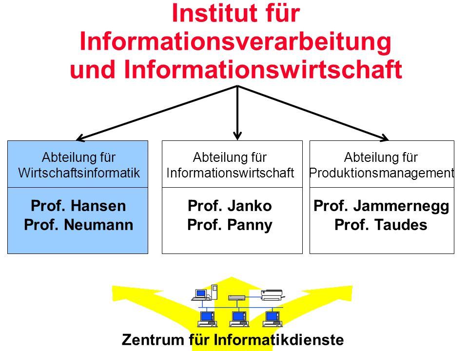 Institut für Informationsverarbeitung und Informationswirtschaft Abteilung für Wirtschaftsinformatik Prof. Hansen Prof. Neumann Abteilung für Informat