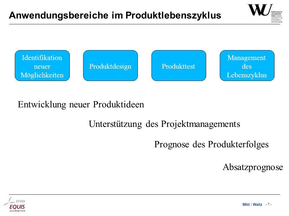 Mild / Waitz - 7 - Anwendungsbereiche im Produktlebenszyklus Entwicklung neuer Produktideen Unterstützung des Projektmanagements Prognose des Produkte