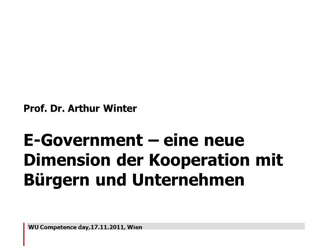 WU Competence day,17.11.2011, Wien Prof. Dr. Arthur Winter E-Government – eine neue Dimension der Kooperation mit Bürgern und Unternehmen