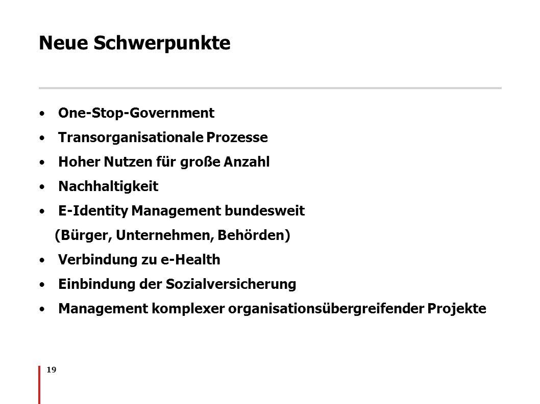 19 Neue Schwerpunkte One-Stop-Government Transorganisationale Prozesse Hoher Nutzen für große Anzahl Nachhaltigkeit E-Identity Management bundesweit (