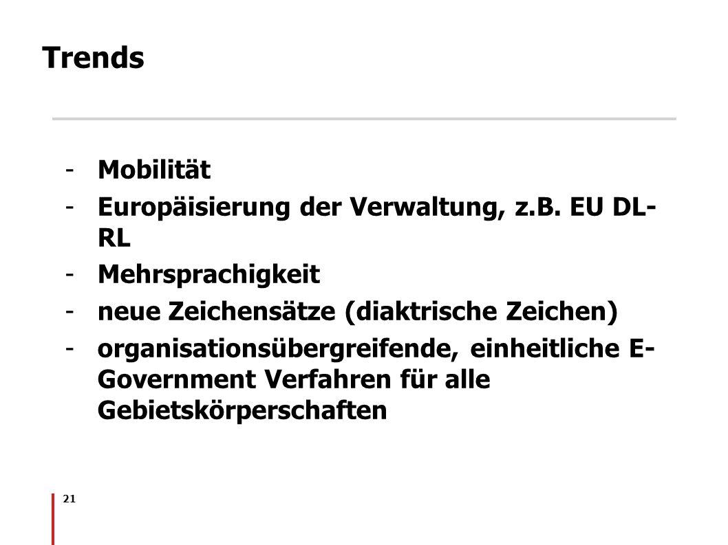 21 Trends -Mobilität -Europäisierung der Verwaltung, z.B. EU DL- RL -Mehrsprachigkeit -neue Zeichensätze (diaktrische Zeichen) -organisationsübergreif