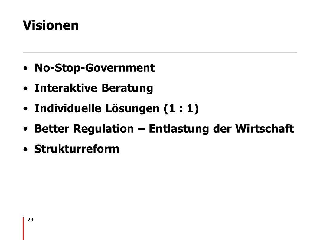 24 Visionen No-Stop-Government Interaktive Beratung Individuelle Lösungen (1 : 1) Better Regulation – Entlastung der Wirtschaft Strukturreform