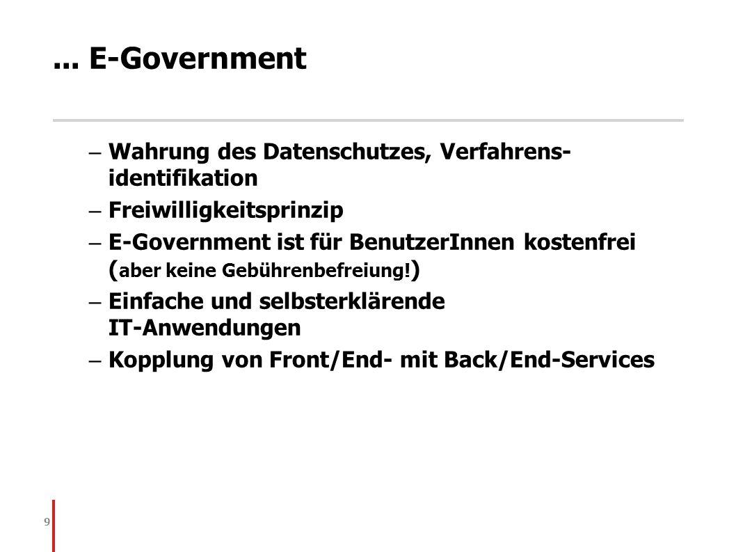 9... E-Government – Wahrung des Datenschutzes, Verfahrens- identifikation – Freiwilligkeitsprinzip – E-Government ist für BenutzerInnen kostenfrei ( a