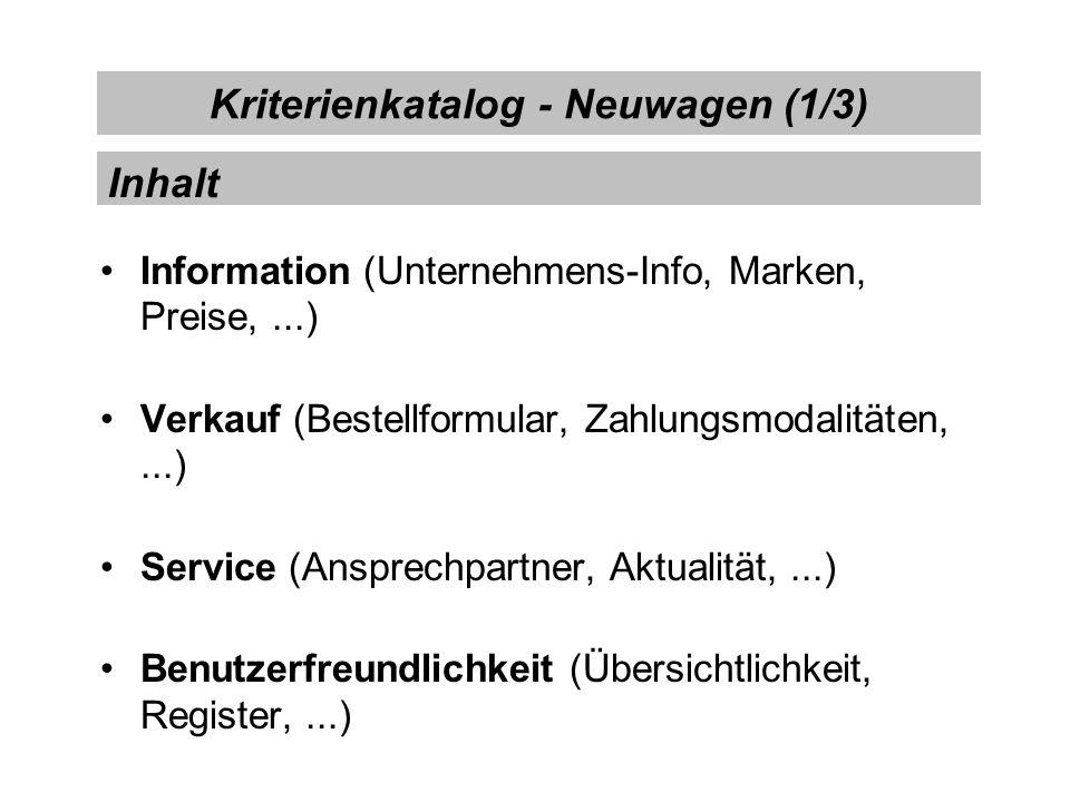 Kriterienkatalog - Neuwagen (1/3) Information (Unternehmens-Info, Marken, Preise,...) Verkauf (Bestellformular, Zahlungsmodalitäten,...) Service (Ansp