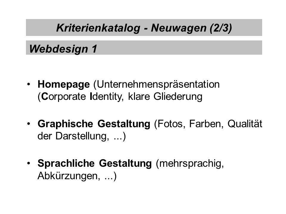 Technik (keine unfertigen Sites, Darstellungsarten ausschöpfen,...) Datensicherheit (Rückversicherung, Zahlungssicherheit,...) Geschwindigkeit (Seitenaufbau) Kriterienkatalog - Neuwagen (3/3) Webdesign 2