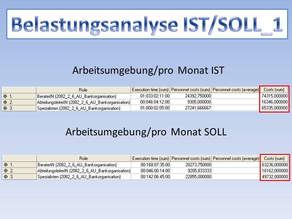 Arbeitsumgebung/pro Monat IST Arbeitsumgebung/pro Monat SOLL