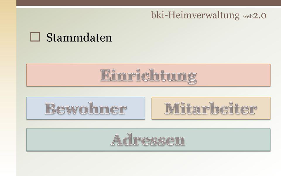 bki-Heimverwaltung web 2.0 Stammdaten