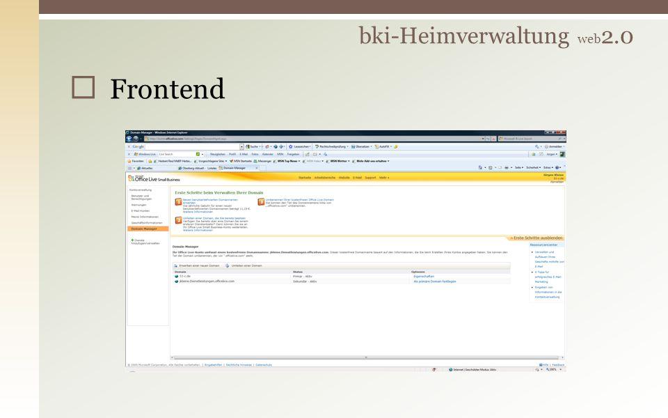 Frontend bki-Heimverwaltung web 2.0
