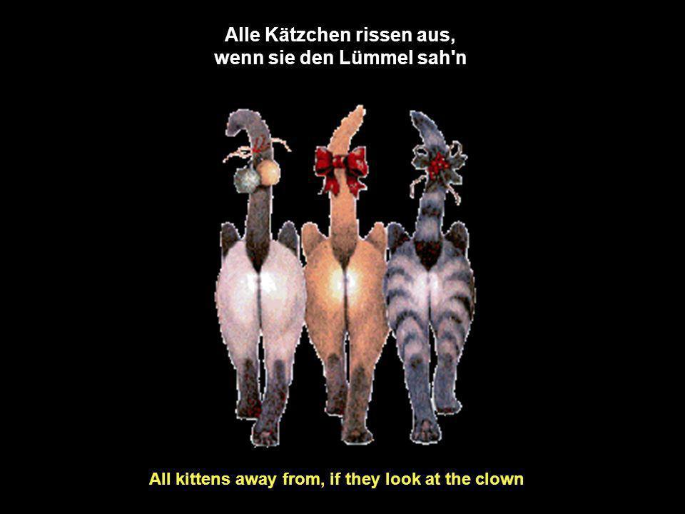 Alle Kätzchen rissen aus, wenn sie den Lümmel sah n All kittens away from, if they look at the clown
