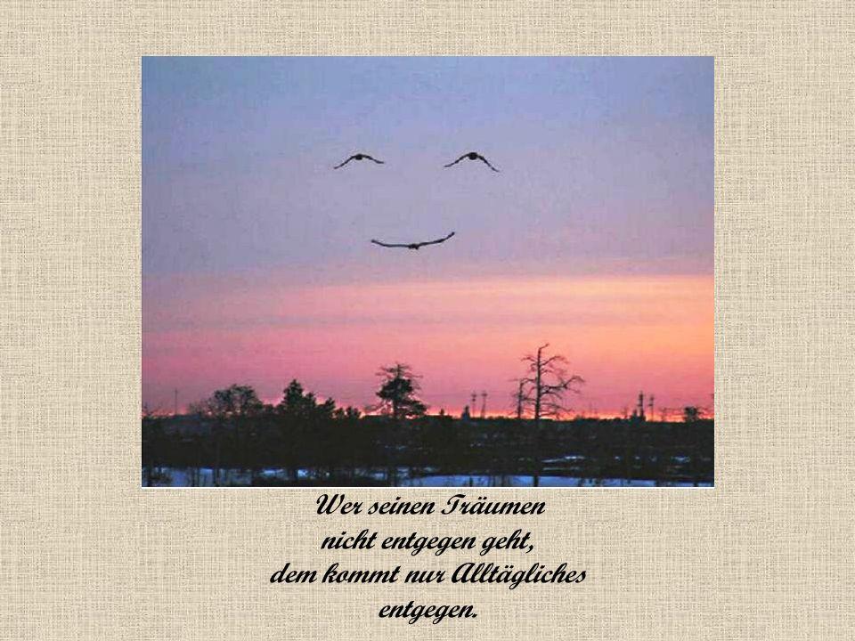 Wer seinen Träumen nicht entgegen geht, dem kommt nur Alltägliches entgegen.