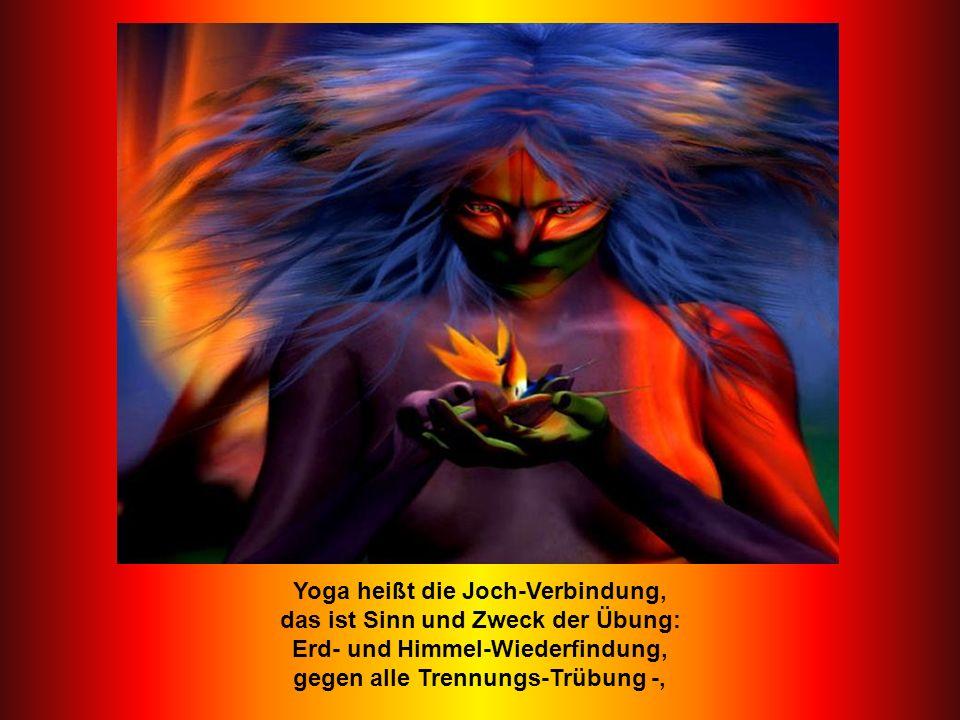 Yoga heißt die Joch-Verbindung, das ist Sinn und Zweck der Übung: Erd- und Himmel-Wiederfindung, gegen alle Trennungs-Trübung -,
