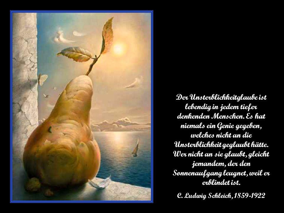 Der Unsterblichkeitglaube ist lebendig in jedem tiefer denkenden Menschen.