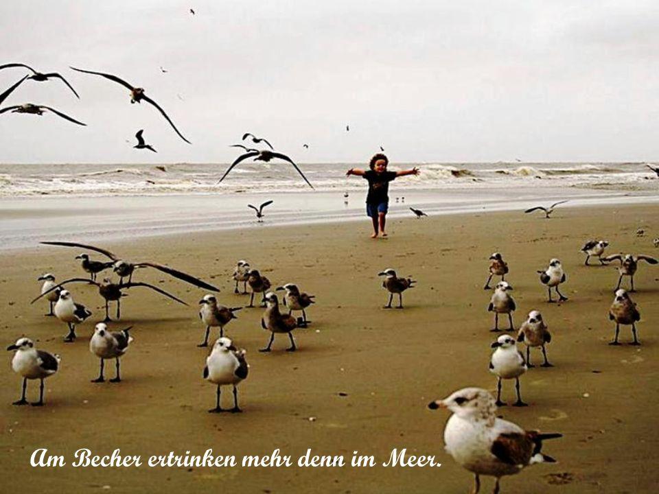 Für den Betrunkenen ist das Meer nur knietief.