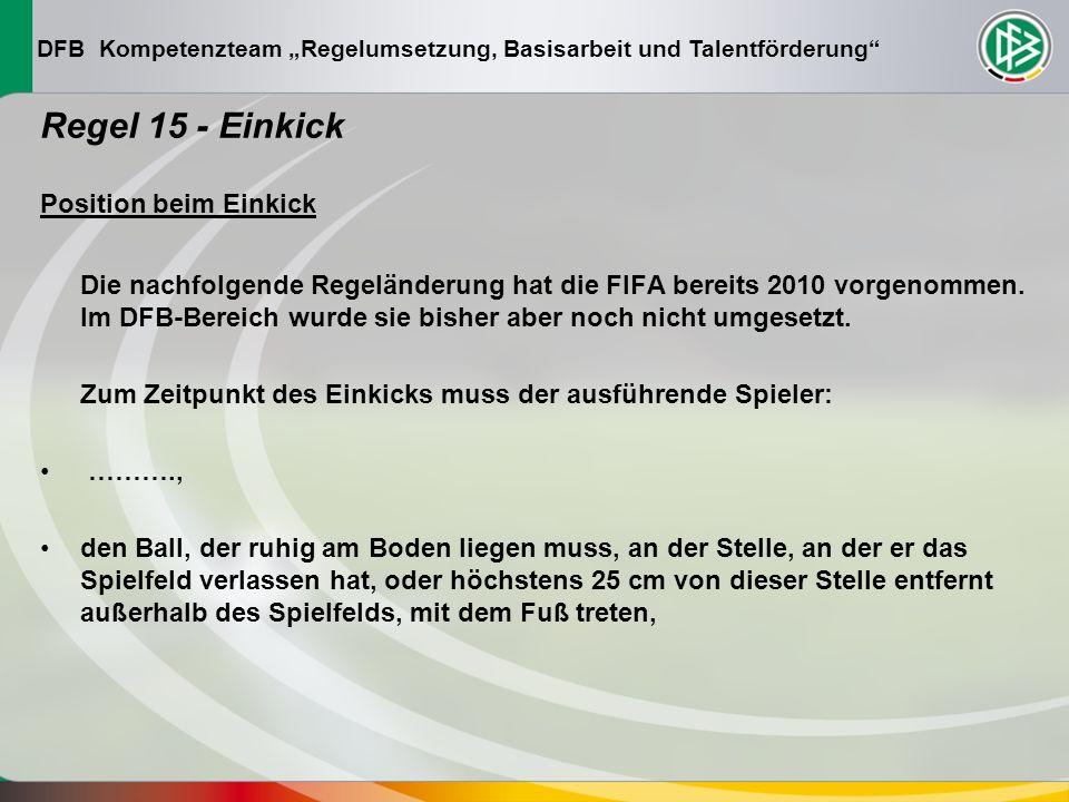 DFB Kompetenzteam Regelumsetzung, Basisarbeit und Talentförderung Regel 15 - Einkick Position beim Einkick Die nachfolgende Regeländerung hat die FIFA bereits 2010 vorgenommen.