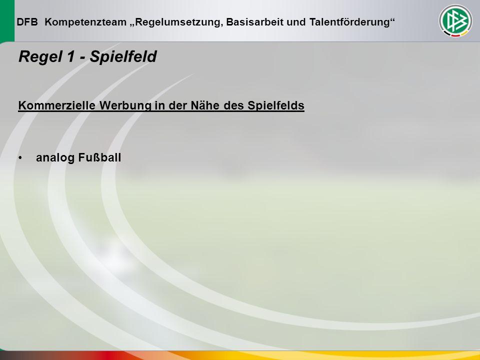 DFB Kompetenzteam Regelumsetzung, Basisarbeit und Talentförderung Regel 1 - Spielfeld Kommerzielle Werbung in der Nähe des Spielfelds analog Fußball