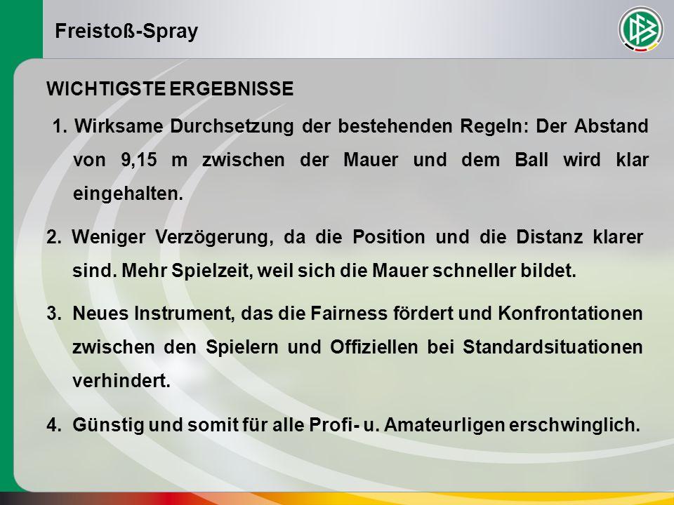 Freistoß-Spray Die Mitglieder beschließen, den Freistoß-Spray zuzulassen, wobei die einzelnen Mitgliedsverbändeüber den Einsatz des Sprays entscheiden sollen.