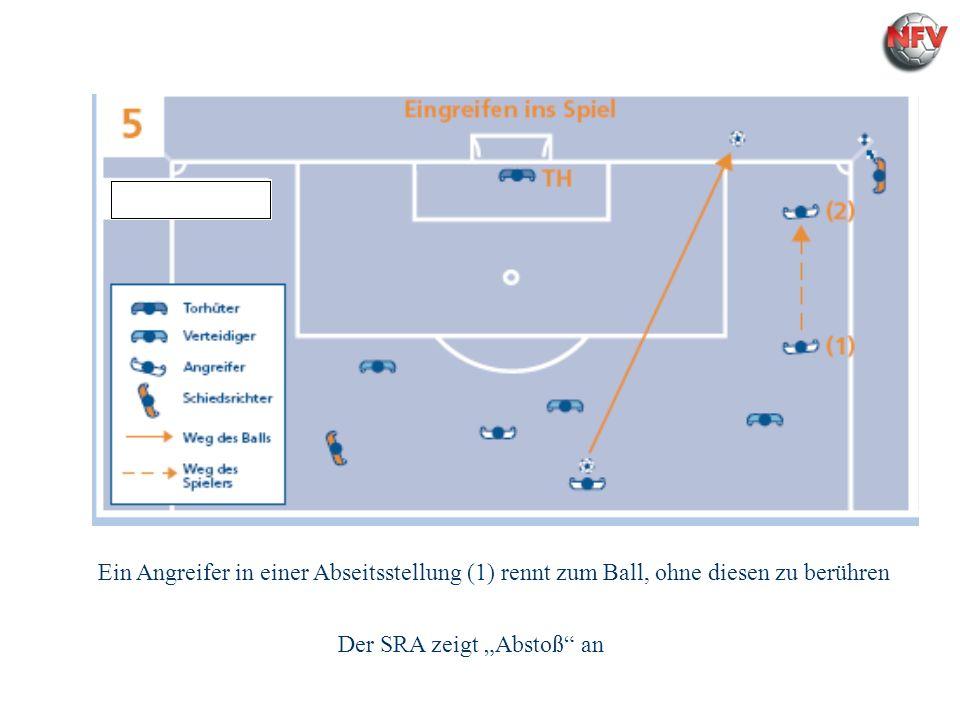 Regel 11 Abseits Ein Angreifer in einer Abseitsstellung (1) rennt zum Ball, ohne diesen zu berühren Der SRA zeigt Abstoß an