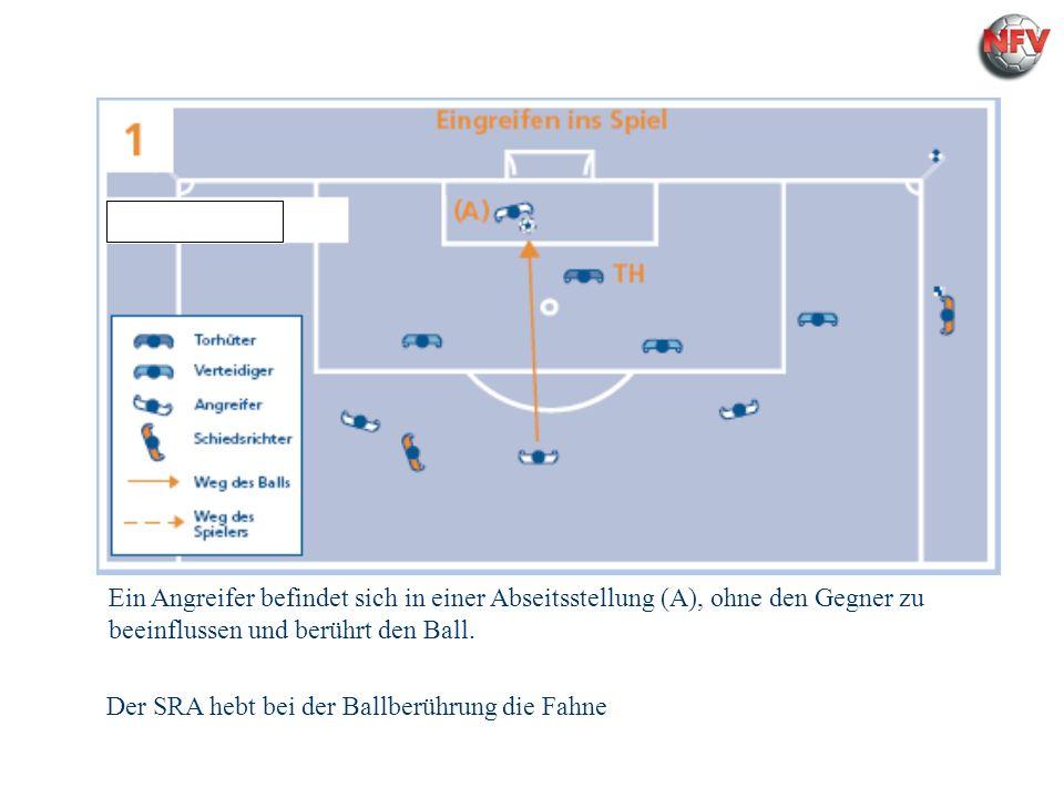 Regel - 11 Abseits Ein Angreifer befindet sich in einer Abseitsstellung (A), ohne den Gegner zu beeinflussen und berührt den Ball. Der SRA hebt bei de