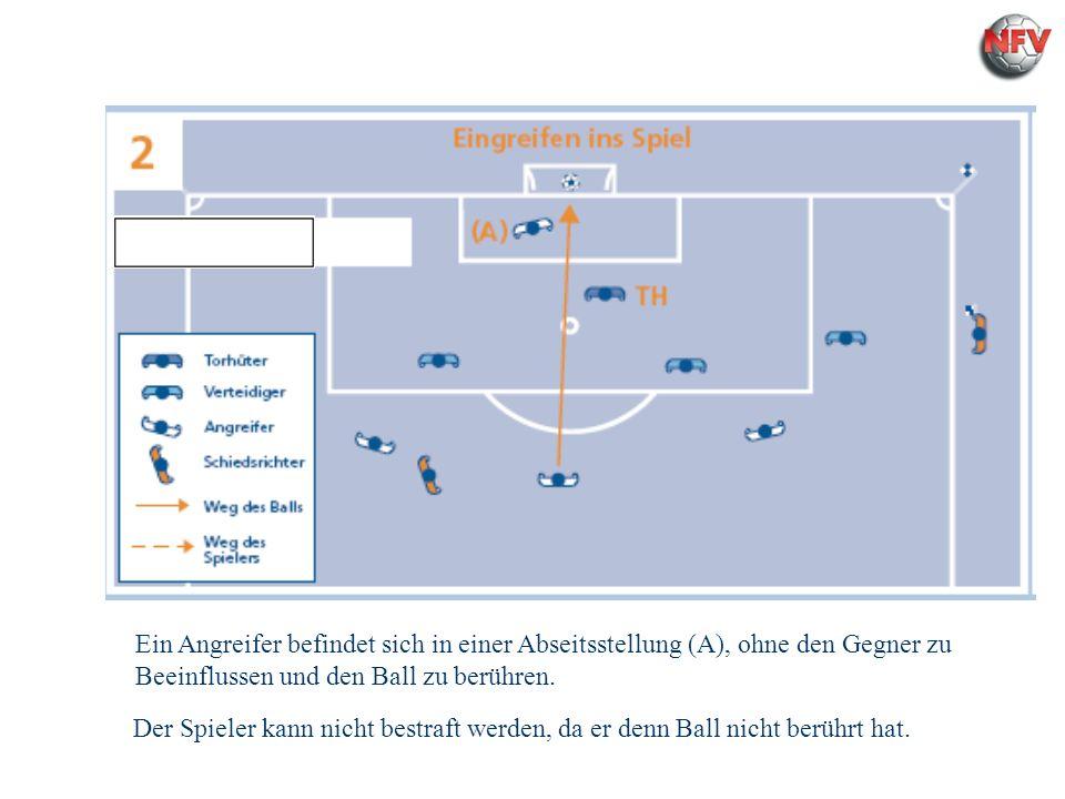 Regel 11 - Abseits Ein Angreifer befindet sich in einer Abseitsstellung (A), ohne den Gegner zu Beeinflussen und den Ball zu berühren. Der Spieler kan
