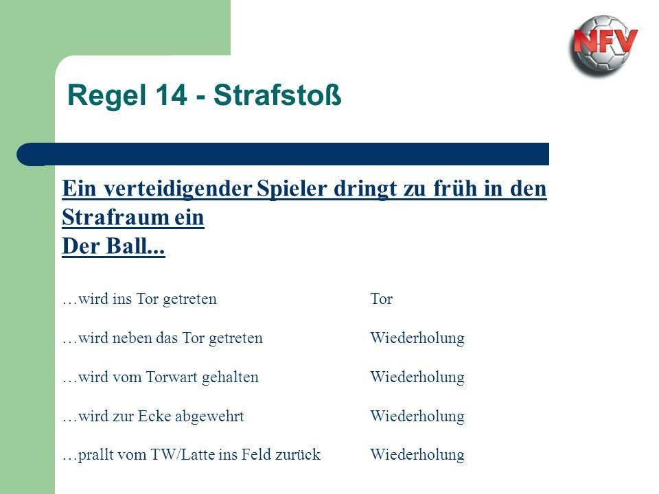 Regel 14 - Strafstoß Der Strafstoßschütze täuscht den Torwart unsportlich Der Ball...