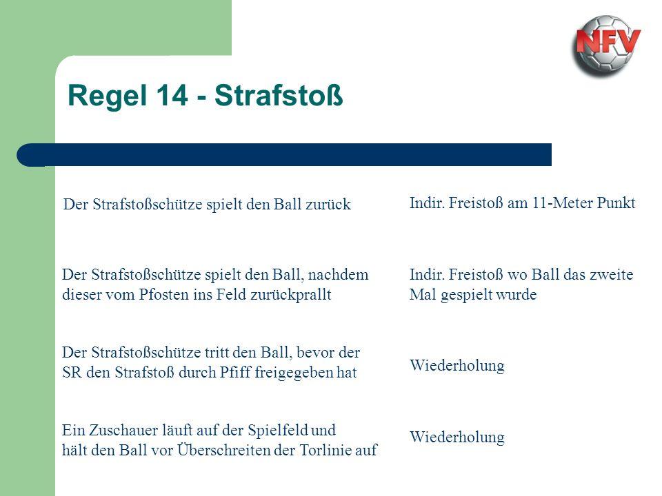 Regel 14 - Strafstoß Ein Abstoppen vor dem Ball und darauf wieder Anlaufen ist ein unsportliches Täuschen und muss gemäß den Bestimmungen mit einer Verwarnung bestraft werden.