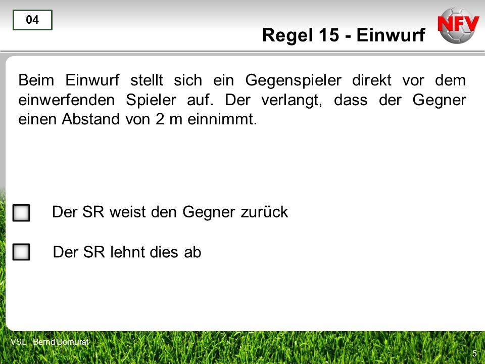 6 Regel 15 - Einwurf Ein Spieler wirft beim Einwurf den Ball zu seinem Torwart zurück.