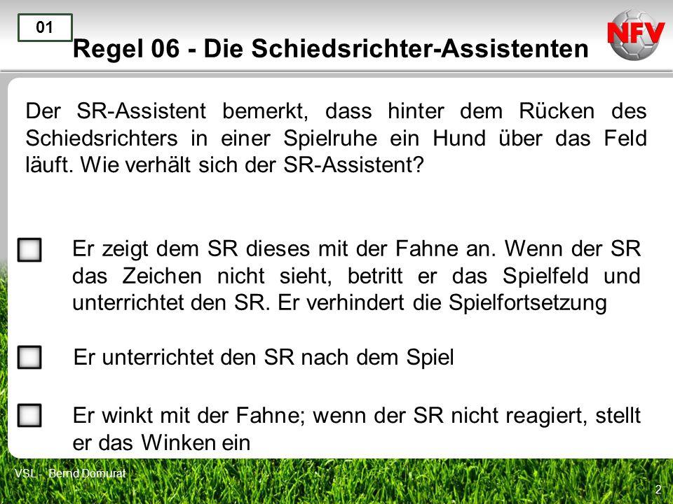 2 Regel 06 - Die Schiedsrichter-Assistenten Der SR-Assistent bemerkt, dass hinter dem Rücken des Schiedsrichters in einer Spielruhe ein Hund über das