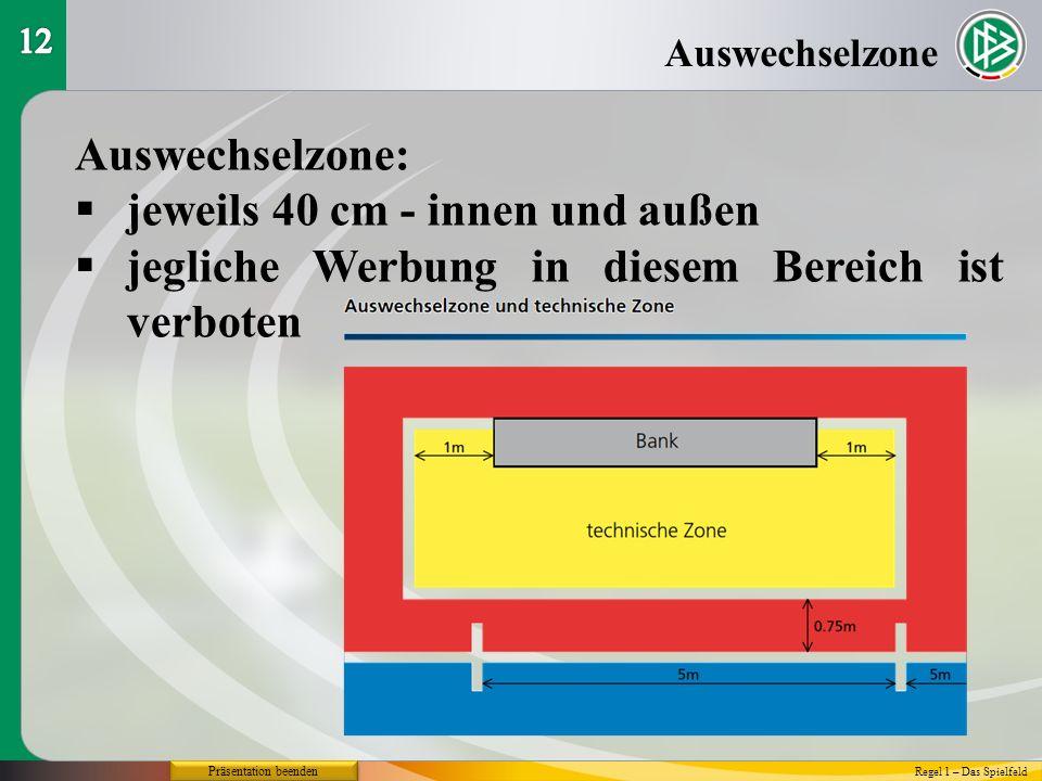 Präsentation beenden Auswechselzone Auswechselzone: jeweils 40 cm - innen und außen jegliche Werbung in diesem Bereich ist verboten Regel 1 – Das Spielfeld