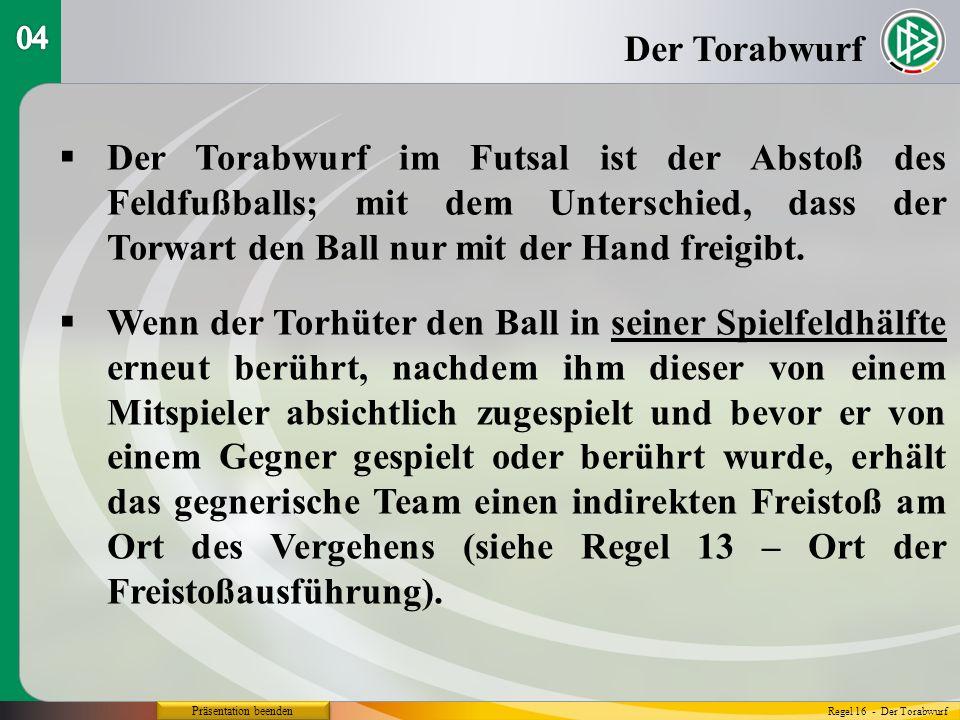 Präsentation beenden Der Torabwurf im Futsal ist der Abstoß des Feldfußballs; mit dem Unterschied, dass der Torwart den Ball nur mit der Hand freigibt.