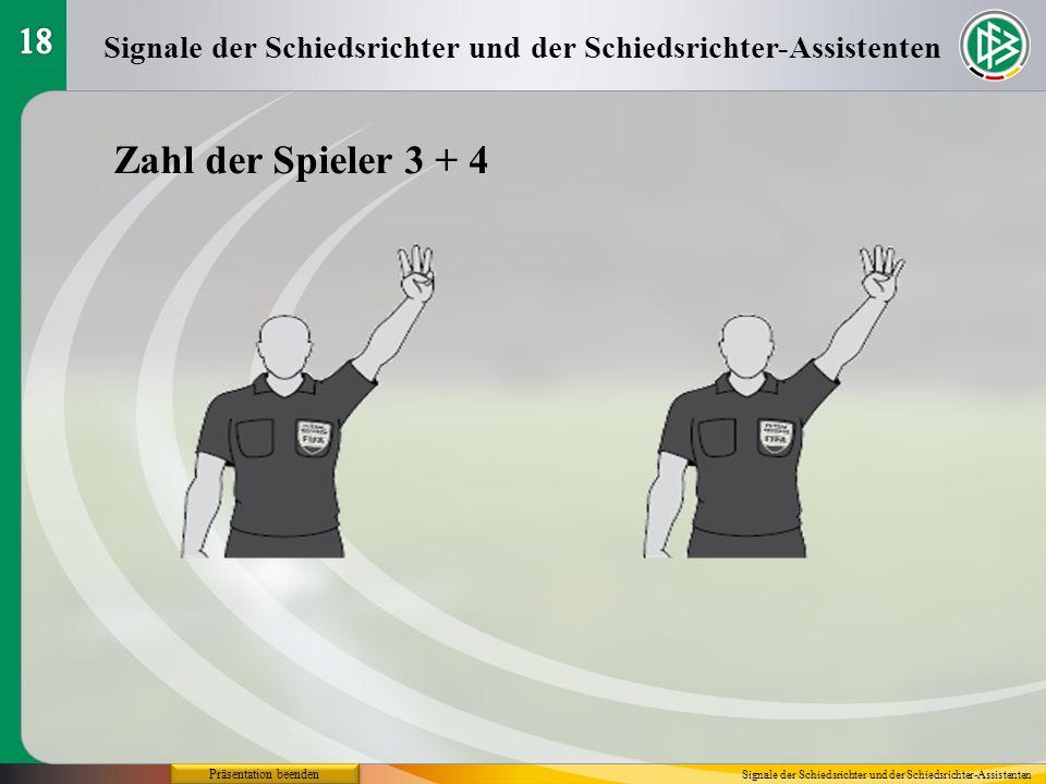 Präsentation beenden Signale der Schiedsrichter und der Schiedsrichter-Assistenten Zahl der Spieler 3 + 4