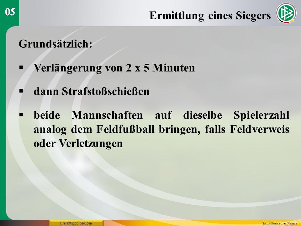 Präsentation beenden Grundsätzlich: Verlängerung von 2 x 5 Minuten Ermittlung eines Siegers dann Strafstoßschießen beide Mannschaften auf dieselbe Spielerzahl analog dem Feldfußball bringen, falls Feldverweis oder Verletzungen