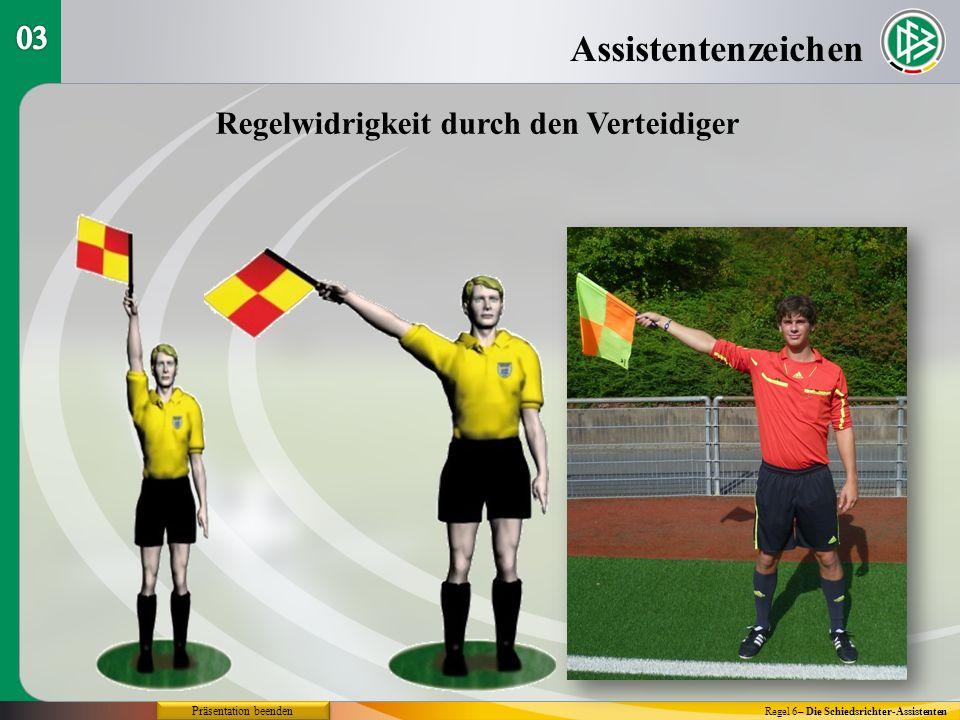 Assistentenzeichen Regel 6– Die Schiedsrichter-Assistenten Regelwidrigkeit durch den Verteidiger Präsentation beenden