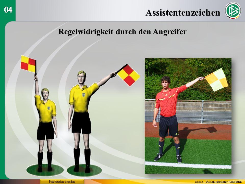 Assistentenzeichen Regel 6– Die Schiedsrichter-Assistenten Regelwidrigkeit durch den Angreifer Präsentation beenden