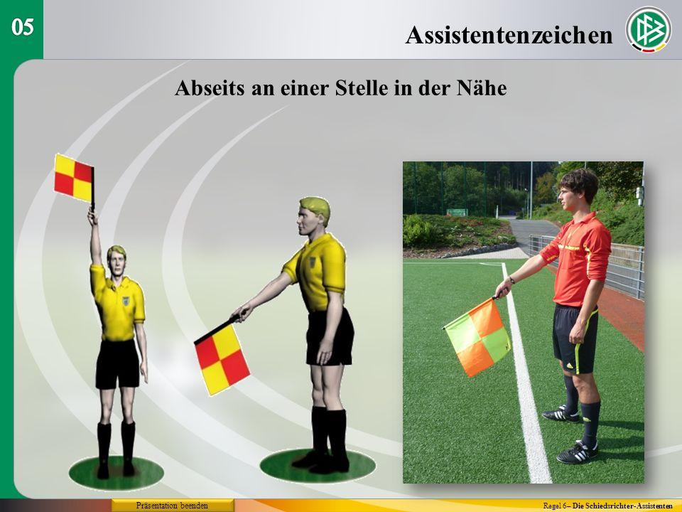 Assistentenzeichen Regel 6– Die Schiedsrichter-Assistenten Abseits an einer Stelle in der Nähe Präsentation beenden