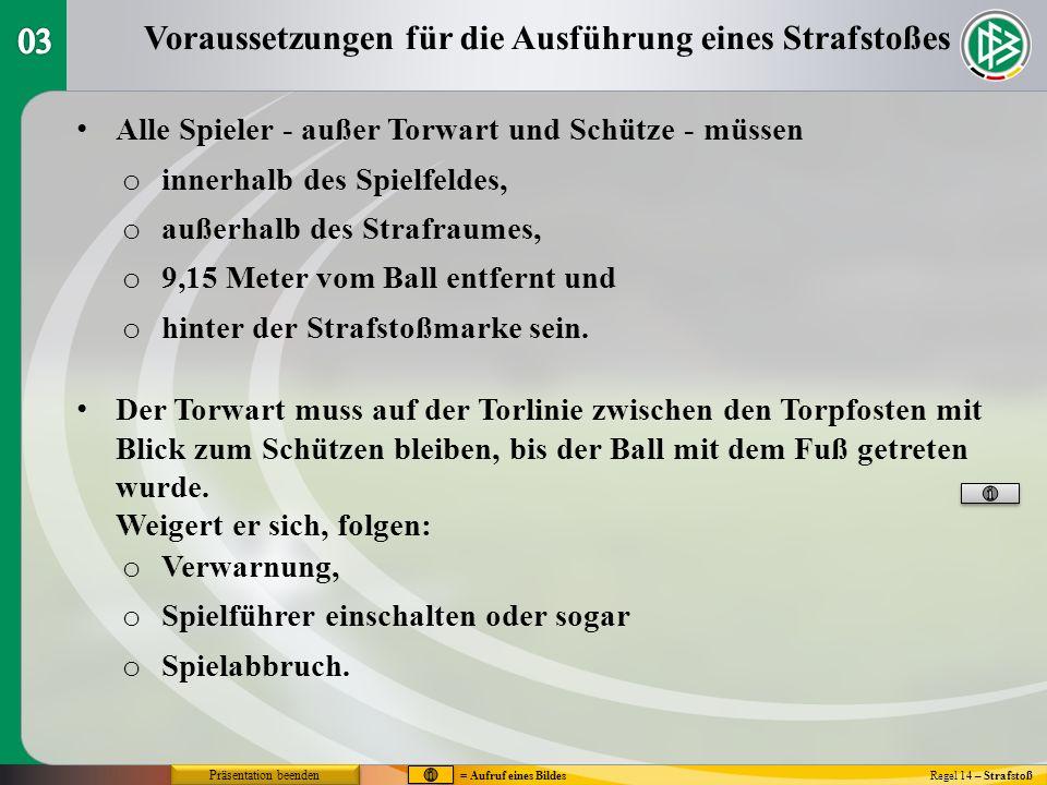 Die Ausführung des Strafstoßes Regel 14 – Strafstoß Alle anderen Spieler müssen sich aufhalten: Position des Balles, der Spieler und Schiedsrichter Der Ball wird auf die Strafstoßmarke gelegt.