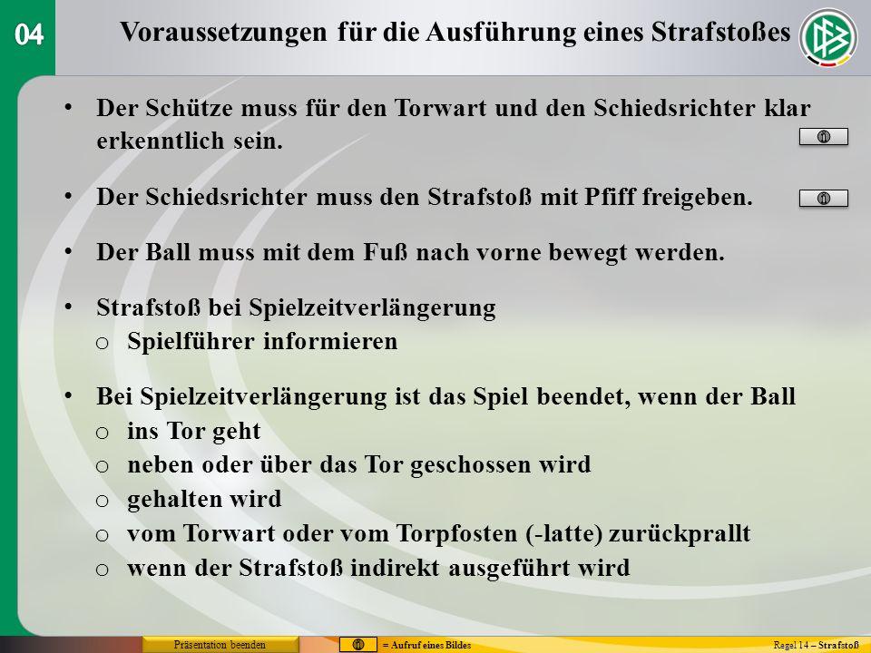 Die Ausführung des Strafstoßes Regel 14 – Strafstoß V - Wirkung ins TorV - Wirkung ins Tor Wirkungins Ausins Tor gehaltenzur EckeSpielfeldPfosten Entscheid`gWiederh.