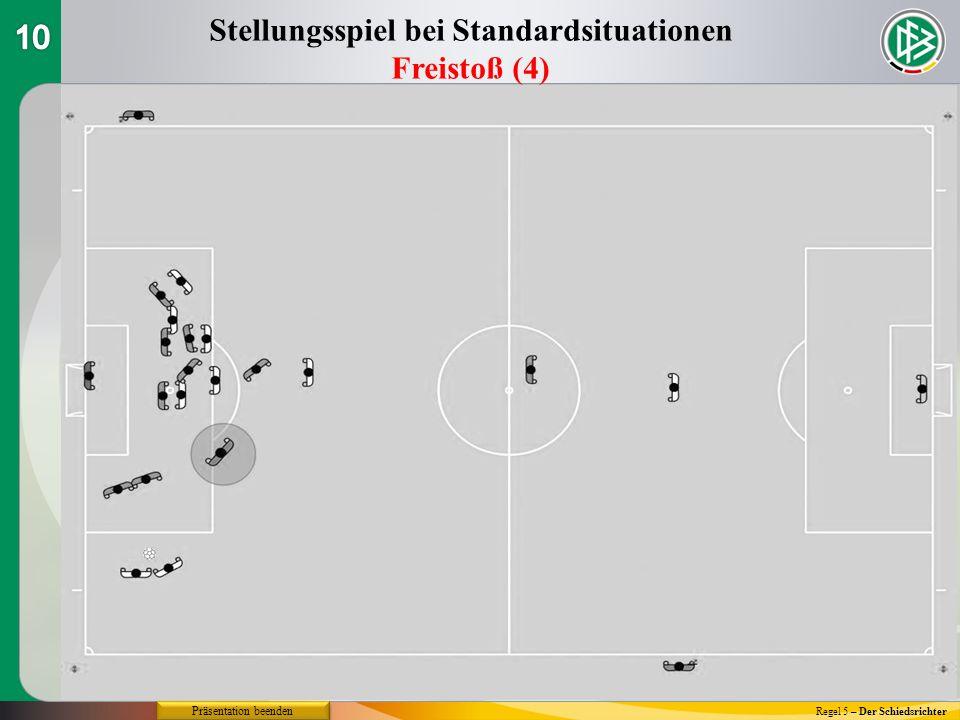 Regel 5 – Der Schiedsrichter Stellungsspiel bei Standardsituationen Freistoß (4) Präsentation beenden