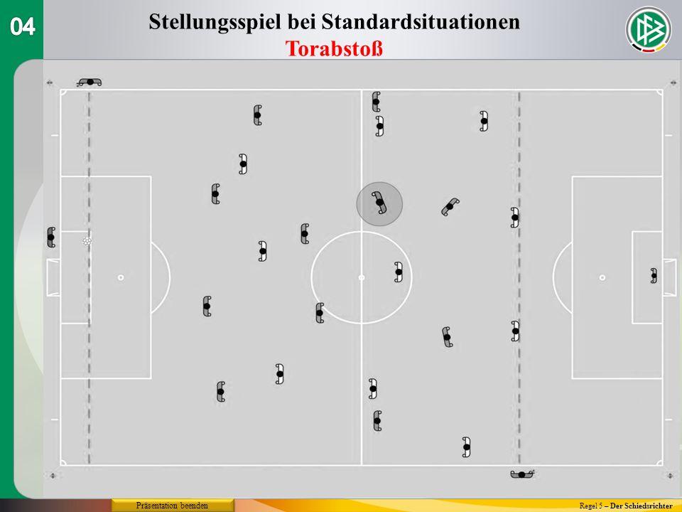 Regel 5 – Der Schiedsrichter Stellungsspiel bei Standardsituationen Torabstoß Präsentation beenden