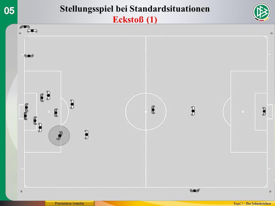 Regel 5 – Der Schiedsrichter Stellungsspiel bei Standardsituationen Eckstoß (1) Präsentation beenden