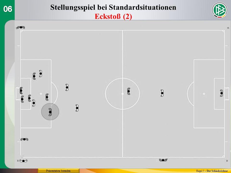 Regel 5 – Der Schiedsrichter Stellungsspiel bei Standardsituationen Eckstoß (2) Präsentation beenden