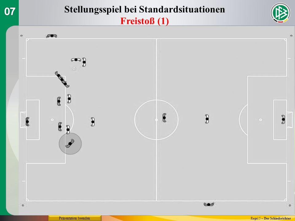 Regel 5 – Der Schiedsrichter Stellungsspiel bei Standardsituationen Freistoß (1) Präsentation beenden