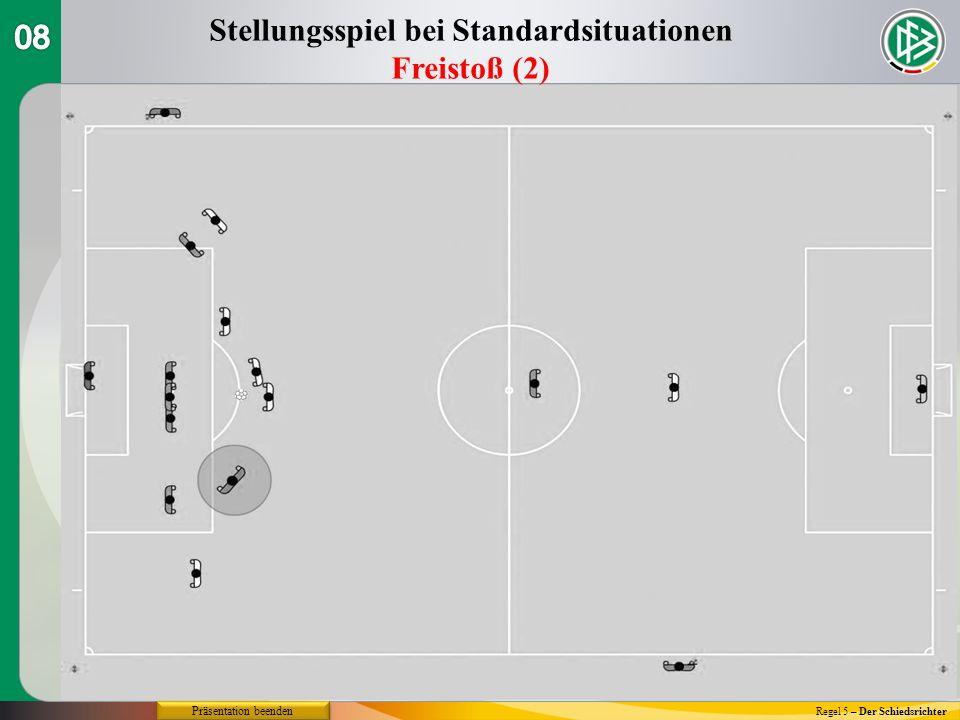 Regel 5 – Der Schiedsrichter Stellungsspiel bei Standardsituationen Freistoß (2) Präsentation beenden