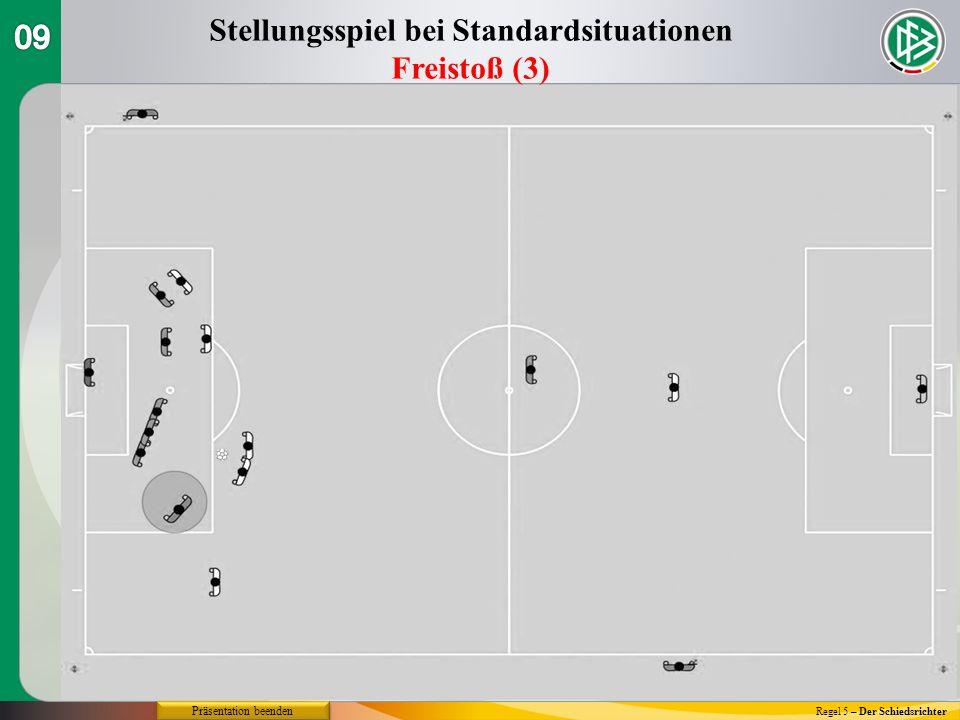 Regel 5 – Der Schiedsrichter Stellungsspiel bei Standardsituationen Freistoß (3) Präsentation beenden
