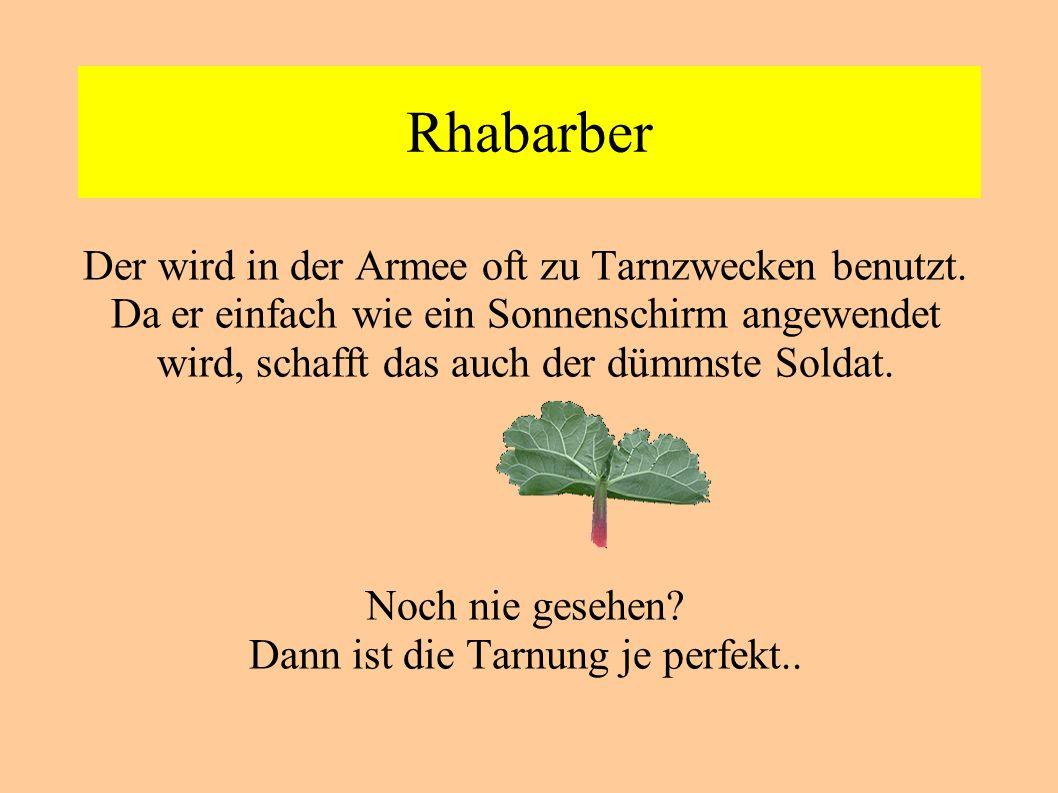 Rhabarber Der wird in der Armee oft zu Tarnzwecken benutzt. Da er einfach wie ein Sonnenschirm angewendet wird, schafft das auch der dümmste Soldat. N