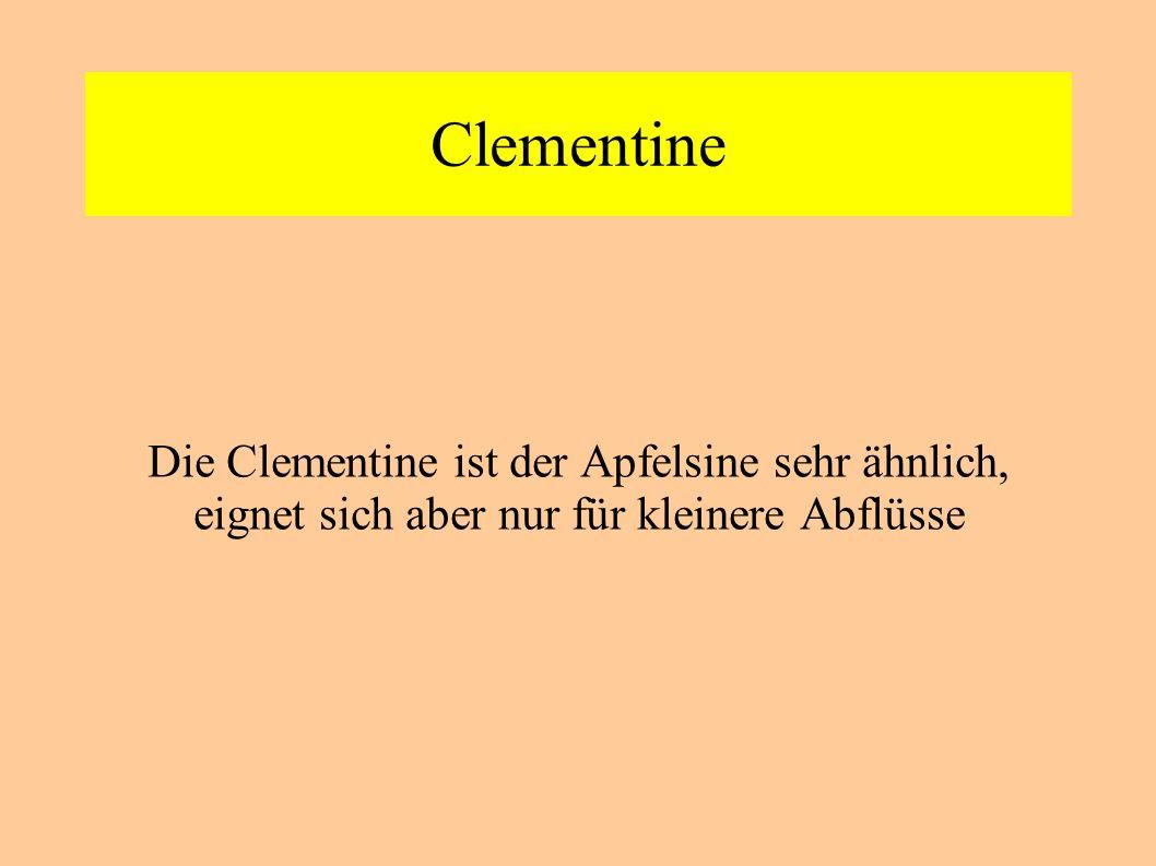 Clementine Die Clementine ist der Apfelsine sehr ähnlich, eignet sich aber nur für kleinere Abflüsse