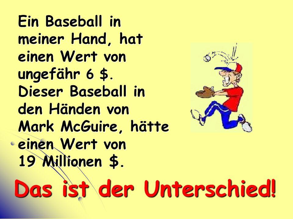 Ein Baseball in meiner Hand, hat einen Wert von ungefähr 6 $.