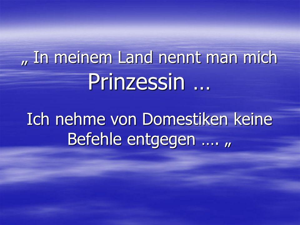 In meinem Land nennt man mich Prinzessin … Ich nehme von Domestiken keine Befehle entgegen ….
